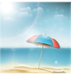 Summer day on ocean beach with umbrella vector