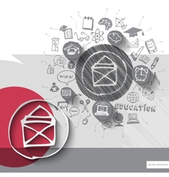 Paper and hand drawn mail emblem with icons vector