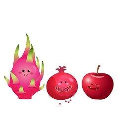 Cute fruits apple dragon fruit pomegranate vector