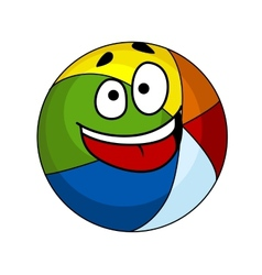 Colorful laughing cartoon beach ball vector