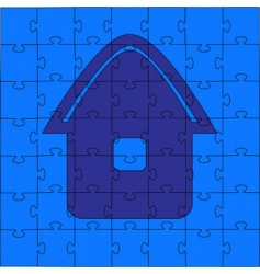 Puzzle house illustration vector