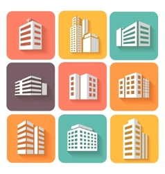 Set of dimensional buildings icons with shadow vector