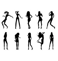 Fashionable model silhouettes vector