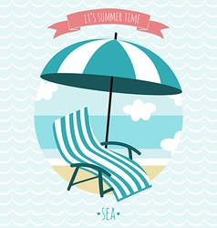 Card with beach armchair and umbrella summer time vector