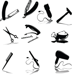 Accessories for hygiene silhouettes vector