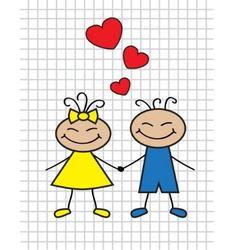 Cartoon children in love vector