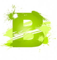 Paint splashes font letter b vector
