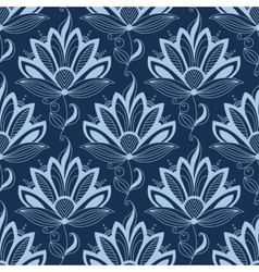 Blue persian paisley seamless floral pattern vector