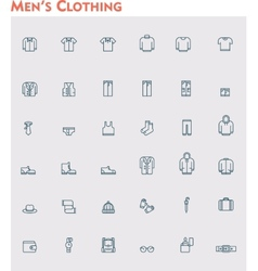 Linear men clothes icon set vector