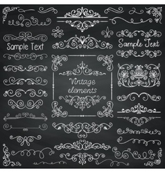 Chalk drawing doodle design elements vector