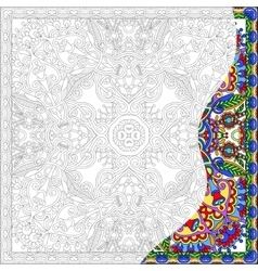 Coloring book square page for adults - floral vector