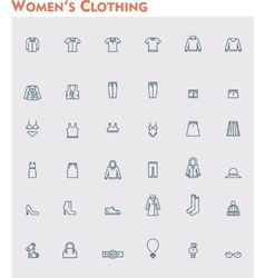 Linear women clothes icon set vector