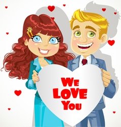 Man and woman holding banner heart we love you vector