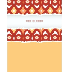 Red and gold ikat geometric frame vertical torn vector