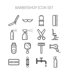 Set of simple monochromatic barbershop icons vector