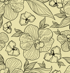 Floral orchid pattern seamless vector
