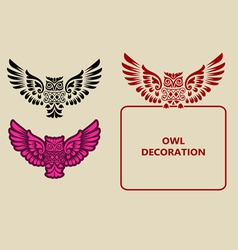Owl decoration vector