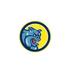 Angry bulldog mongrel head circle cartoon vector