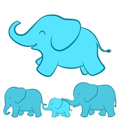 Elephant family cartoon vector