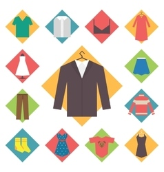 Clothing icons set shopping elements flat design vector