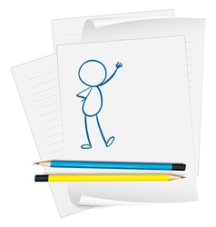 A paper with a sketch of a person standing vector
