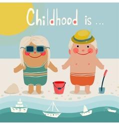 Summer beach children friends sunbathing vector