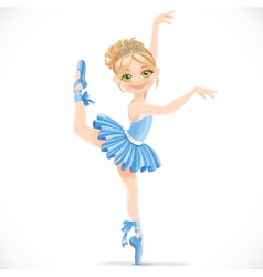 Ballerina girl in blue dress dancing on one leg vector