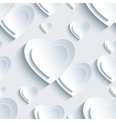 Grey valentines day seamless pattern 3d heart vector