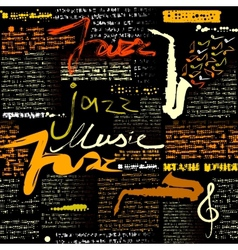 Black newspaper jazz music vector