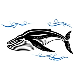 Big black whale in ocean water vector