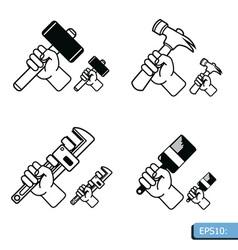 Hand tools icon set vector
