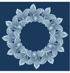 Round frame made of orchid flower vector