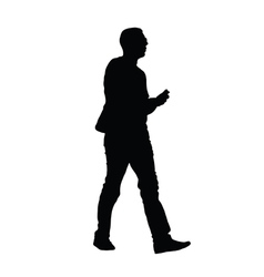 Man with phone silhouette vector