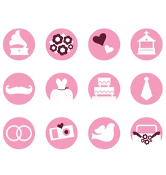 Wedding icons in retro style isolated on white vector