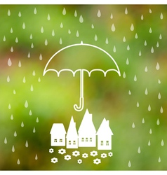 Symbol of umbrella protection from rain drops vector