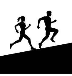 Men and women running silhouette vector