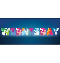 Wednesday written with alphabet puzzle vector