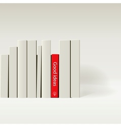 Red book in row of white book vector