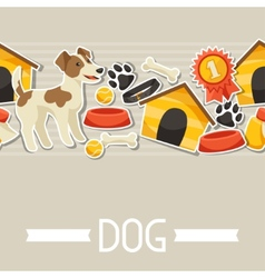 Seamless pattern with cute sticker dogs icons and vector