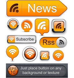 Rss high-detailed modern buttons vector