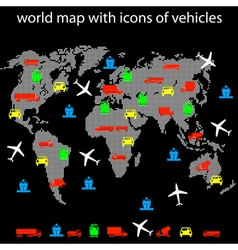 World map with icons of transport for traveling vector