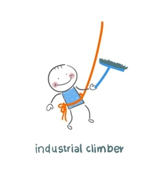 Industrial climber washes windows vector