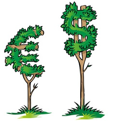 Dollar versus euro on tree vector