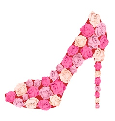 Shoe from roses vector