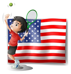 A tennis athlete and the usa flag vector