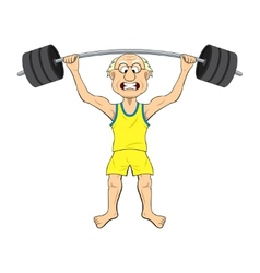 Cartoon old man lifting weights vector