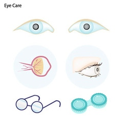 Eye care with glasses and contact lenses vector