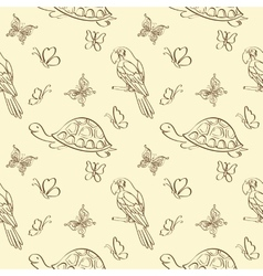 Seamless pattern animals contours vector
