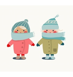 Children in winter cloth vector