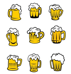 Set of beer glasses vector